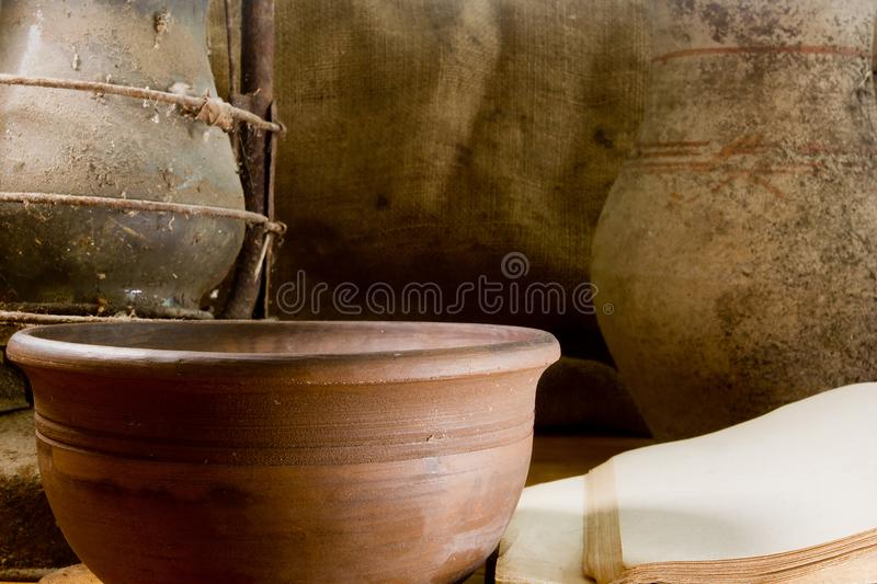 Vintage still life with pottery stock photography