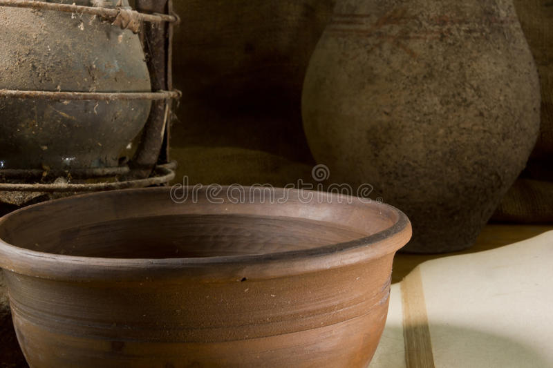 Vintage still life with pottery stock image