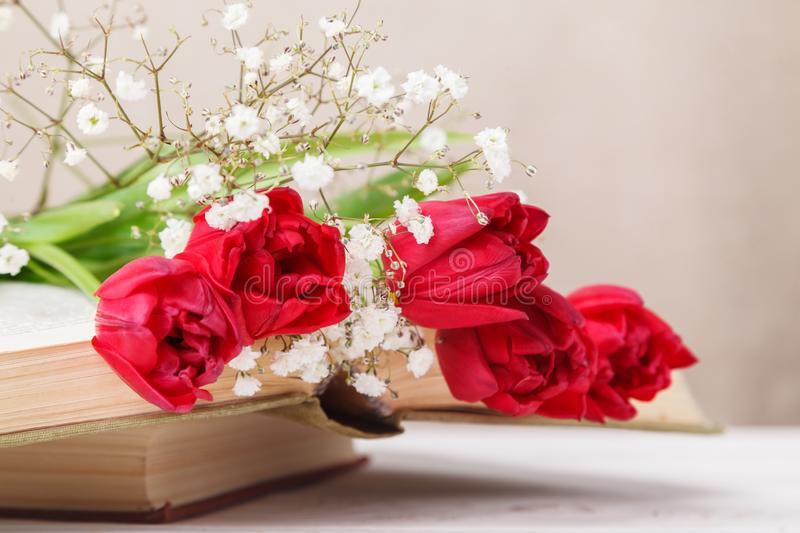 Vintage still Life with a spring red tulips and a books on a beige background. Mother`s day, women`s day concept royalty free stock photo