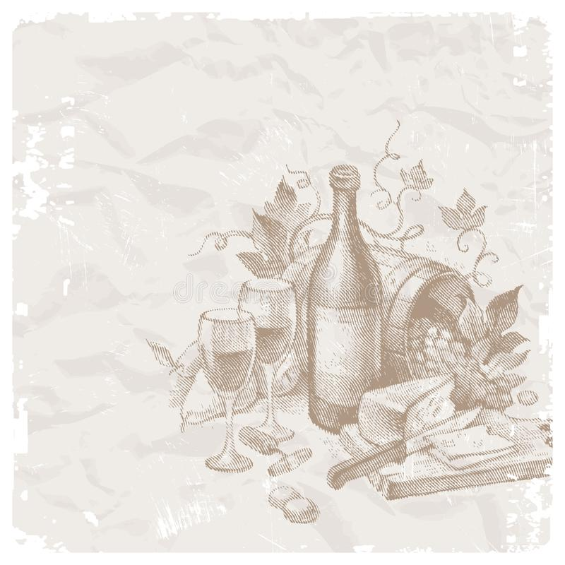 Vintage still life with wine and foods stock illustration