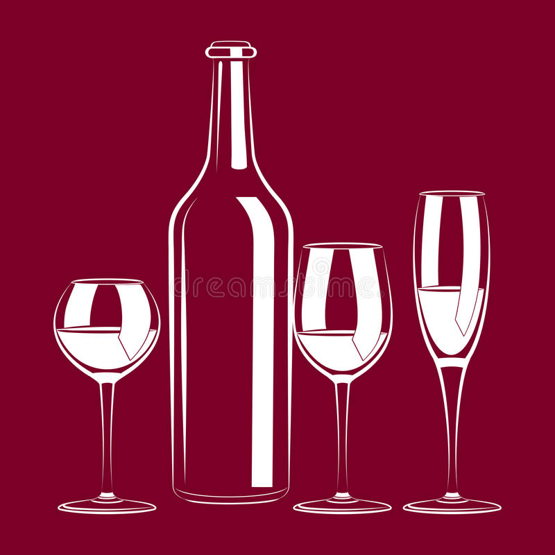 Download Vintage Still Life With Wine And Glass Stock Vector - Image: 22934428