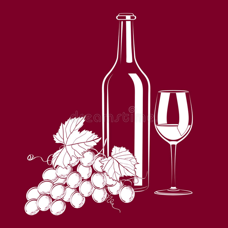 Vintage still life with wine and grapes royalty free illustration