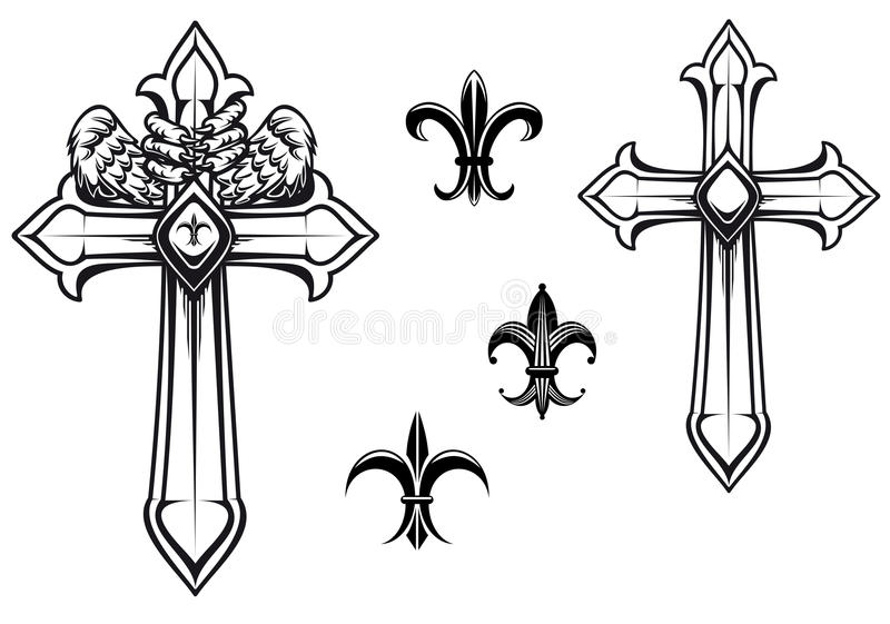 Download Vintage stone cross stock vector. Image of fleur, church - 25320996