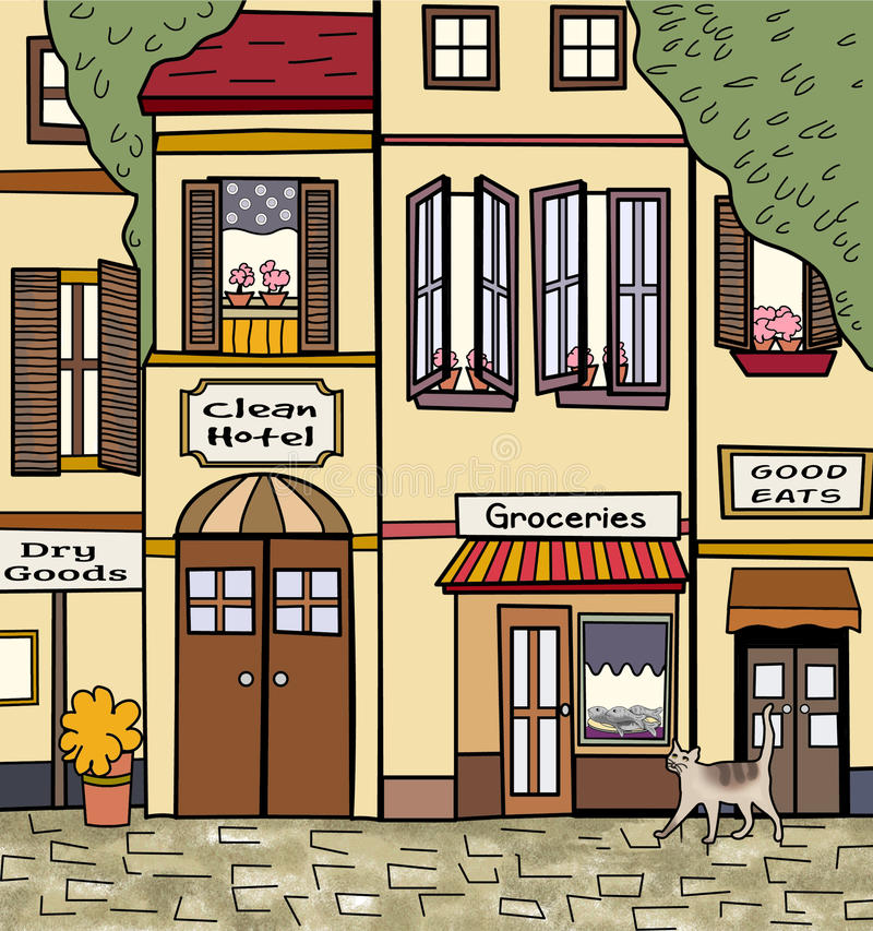 Vintage store fronts. A vintage street scene with store fronts, potted plants, and a cat looking at a window displaying fish vector illustration