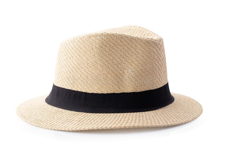 Vintage Straw hat with black ribbon for man isolated over white background. Vintage Straw hat with black ribbon for man isolated on white background accessory stock photo