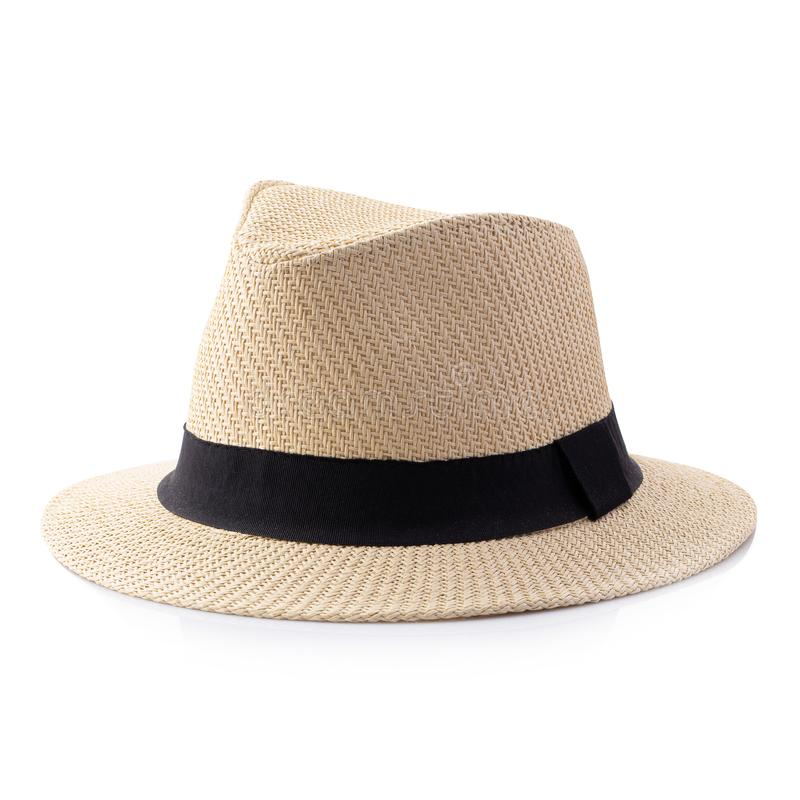 Vintage Straw hat with black ribbon for man isolated over white background. Vintage Straw hat with black ribbon for man isolated on white background accessory royalty free stock image