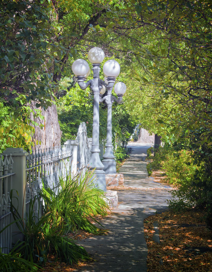 Vintage Street Lamps, Tree-lined Path. Grey vintage electric street lamps with white globes stand next to a metal fence on a tree lined sidewalk filled with the royalty free stock image