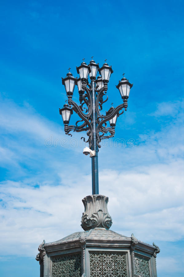Download Vintage Street Lantern On Blue Sky Background Stock Image - Image: 24457919