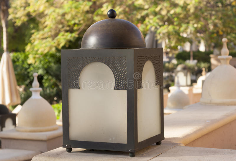 Vintage street lantern cube lampot photo.  stock images