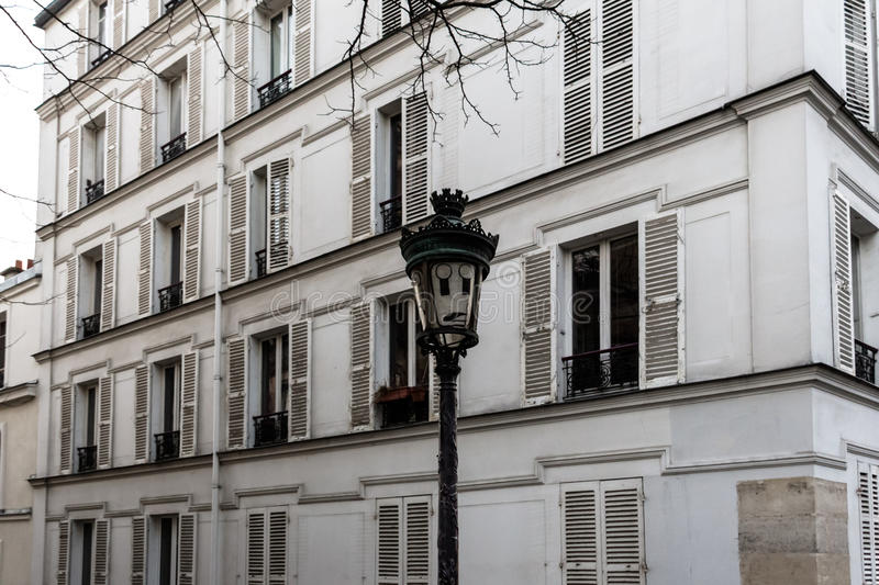 The vintage street light with astonishment emoticon. Paris, France royalty free stock photography