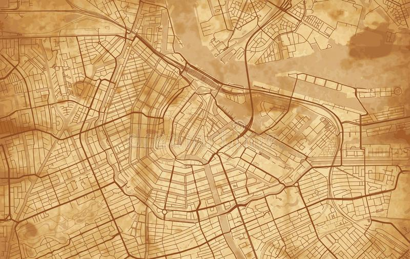 Vintage Street map of the city of Amsterdam vector illustration