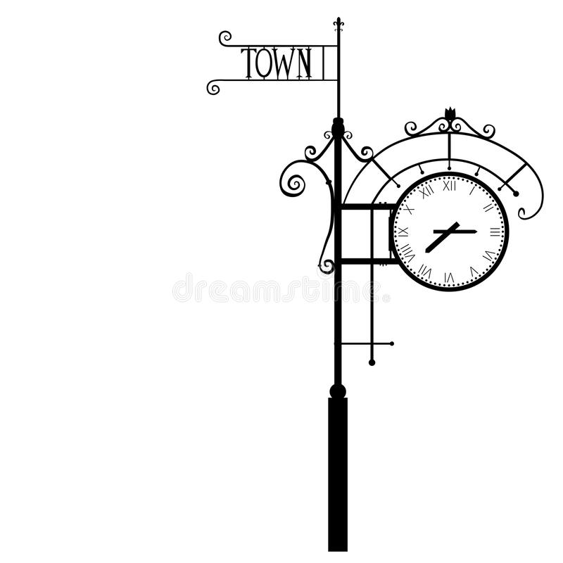 Free Vintage Street Numeral Clock, Vector Illustration Isolated On White Background, Monochrome Silhouette With Space For Royalty Free Stock Photography - 80718457