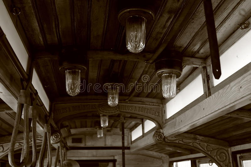 Vintage streetcar. Ornamental detail of a vintage wooden streetcar royalty free stock images