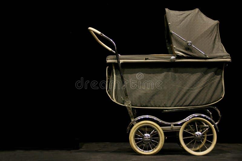 Vintage stroller. Old fashioned stroller on a black background