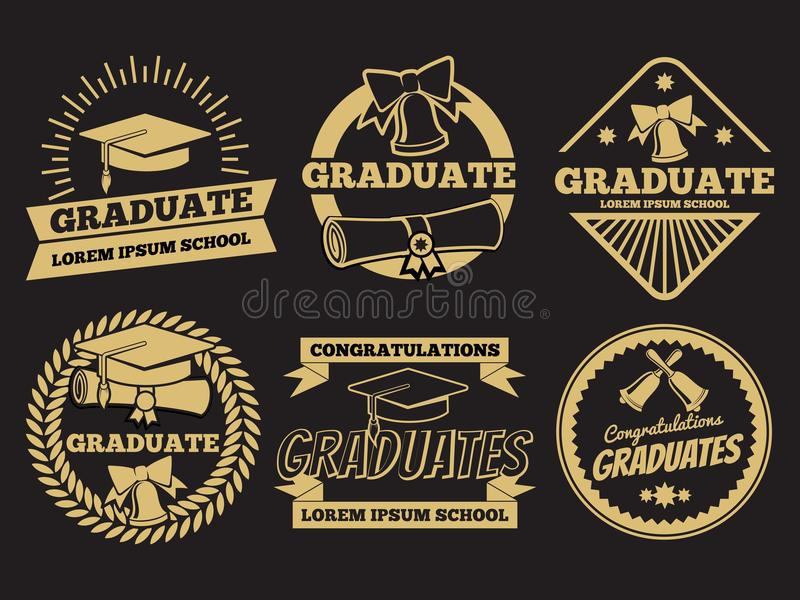Vintage student graduate vector badges. Graduation label set stock illustration