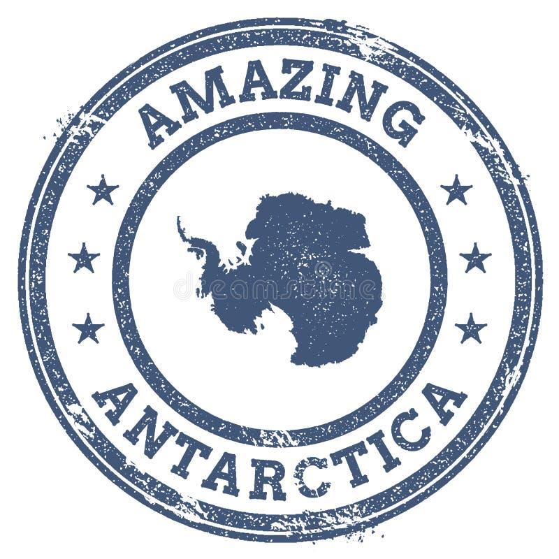 Vintage stupéfiant le timbre de voyage de l'Antarctique avec la carte illustration stock