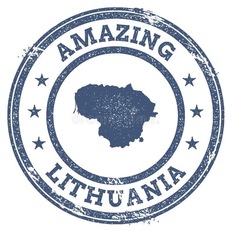 Vintage stupéfiant le timbre de voyage de la Lithuanie avec la carte illustration libre de droits