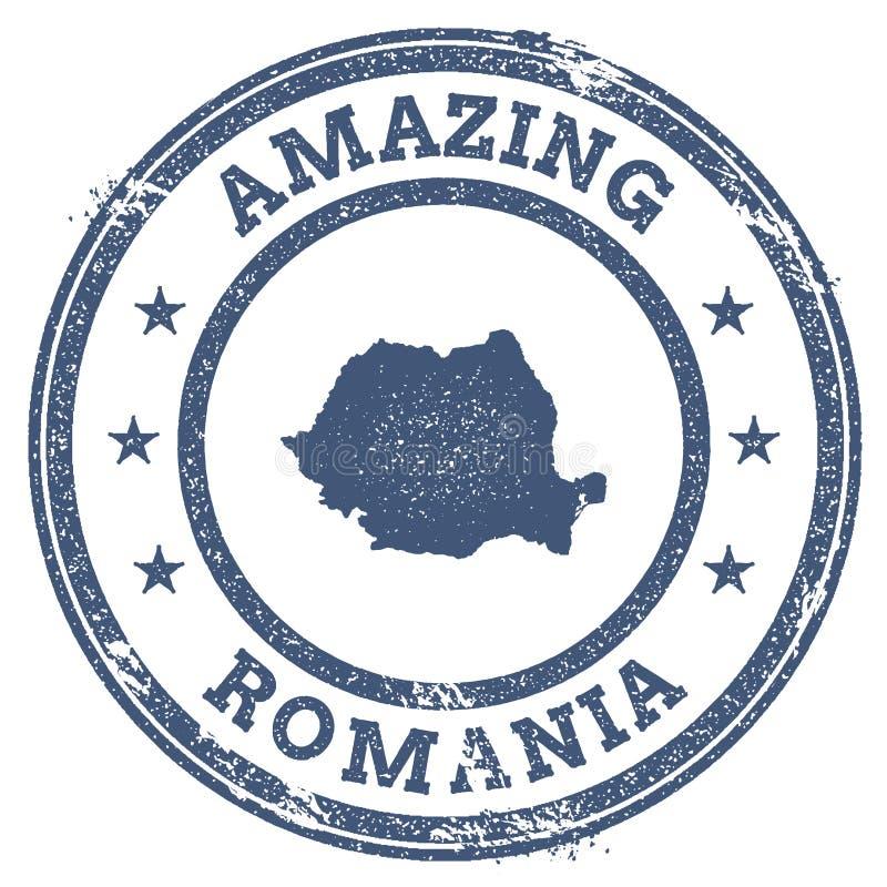 Vintage stupéfiant le timbre de voyage de la Roumanie avec la carte illustration libre de droits