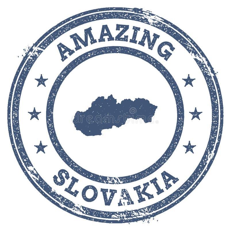 Vintage stupéfiant le timbre de voyage de la Slovaquie avec la carte illustration libre de droits