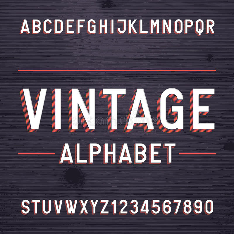 Vintage style alphabet vector font. Letters and numbers on the dark wooden background. Retro vector typeface for labels, flyers, headlines, posters etc vector illustration