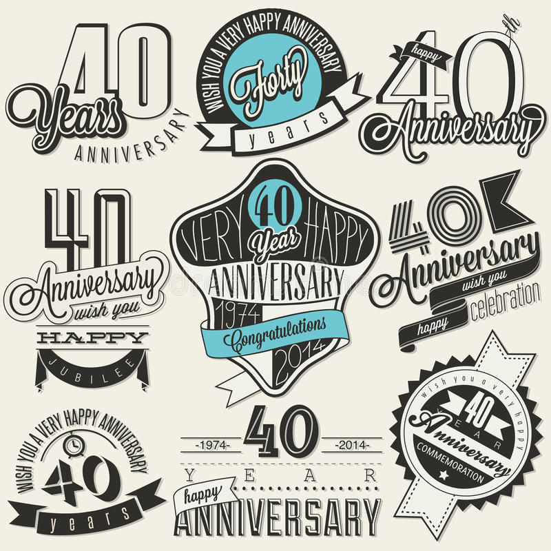 Vintage style 40 anniversary collection. Forty anniversary design in retro style. Vintage labels for anniversary greeting. Hand lettering style typographic and royalty free illustration