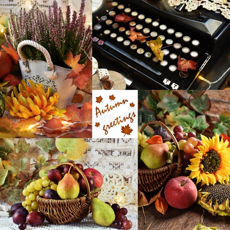 Vintage style autumn collage stock image