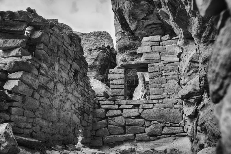 Vintage Style B&W Ancestral Puebloan Anasazi Room. Looking into the remains of an Ancestral Puebloan room. Part of an ancient pueblo in Canyons of the Ancients royalty free stock photo