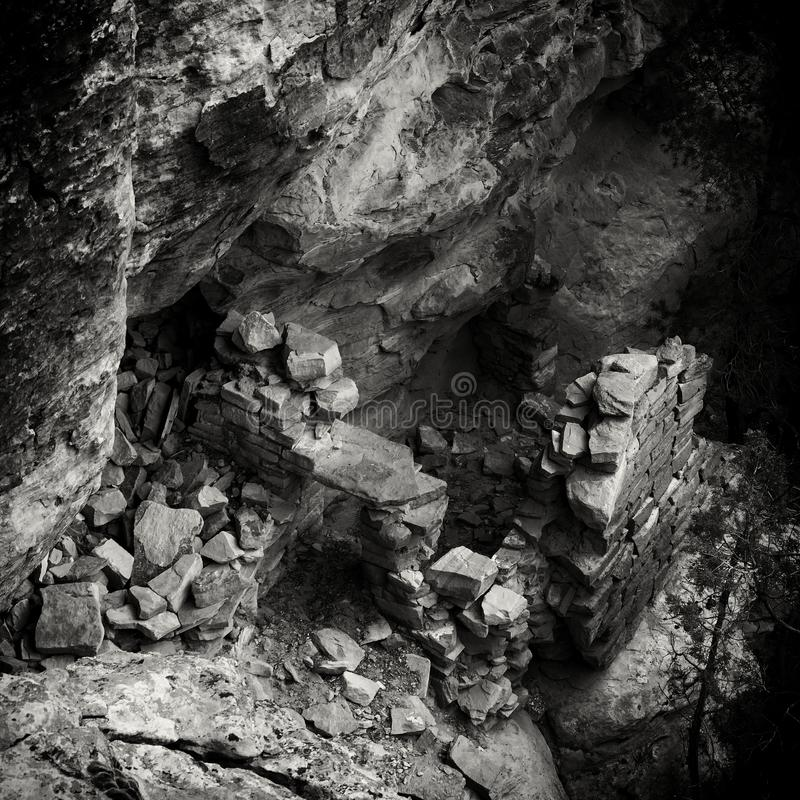 Vintage Style B&W Ancestral Puebloan Anasazi Ruin. Looking down into the remains of an Ancesteral Puebloan ruin. Part of an ancient pueblo in Canyons of the stock photo