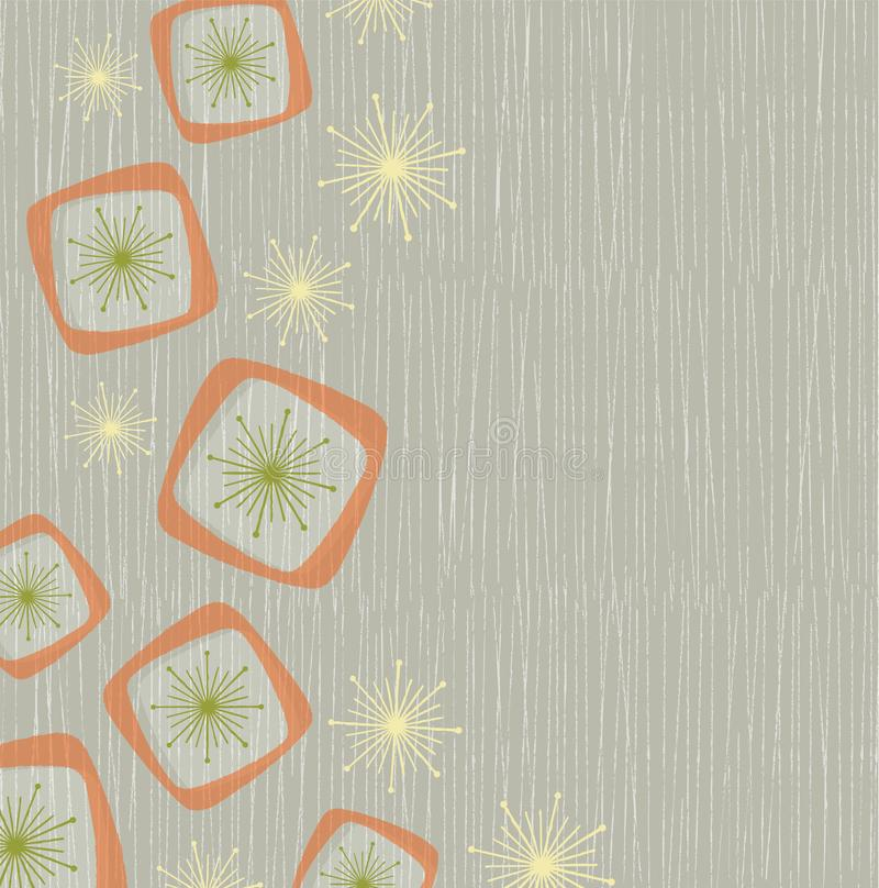 Retro Atomic Shapes and Stars Light Background. Vintage style background of atomic stars and boxes on a grunge line background. Inspired by mid-century modern vector illustration