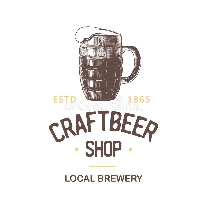Vintage style beer shop label, badge, emblem, logo. vector illustration
