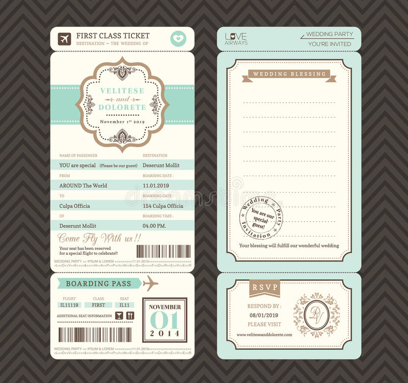 Vintage Style Boarding Pass Ticket Wedding Invitation Template Stock ...