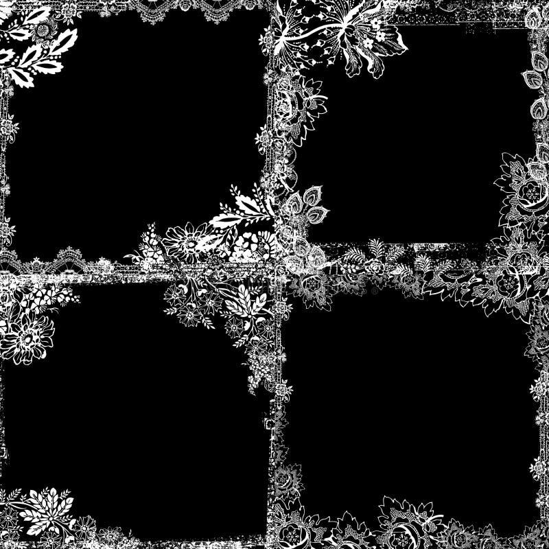 Vintage Style Botanical Floral Framed Background Stock Photography