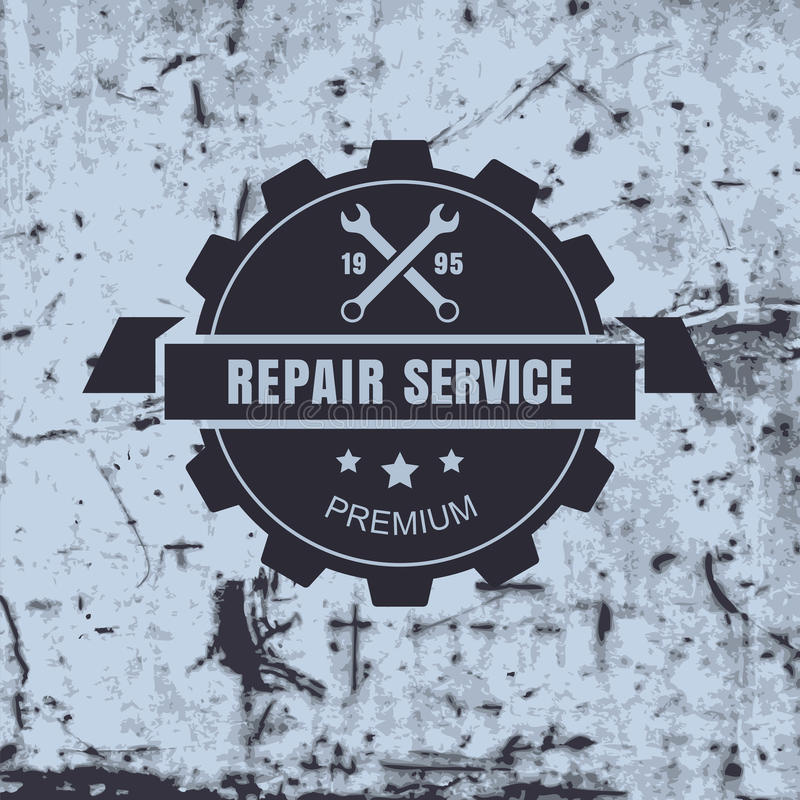 Vintage style car repair service label on rusty background. Vector logo design template stock illustration