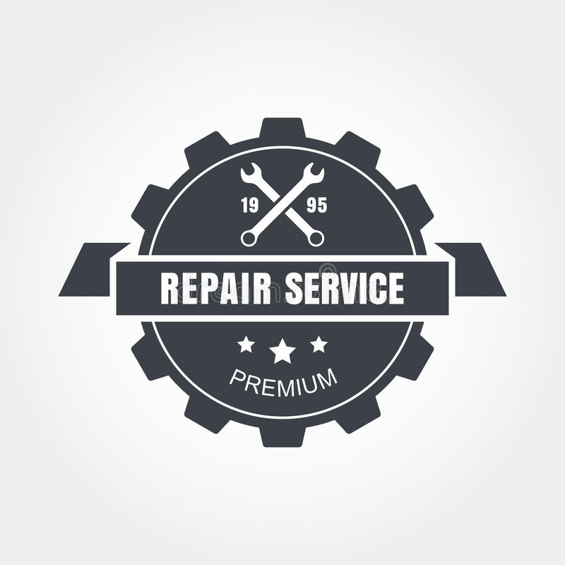 Vintage style car repair service label. Vector logo design template royalty free illustration