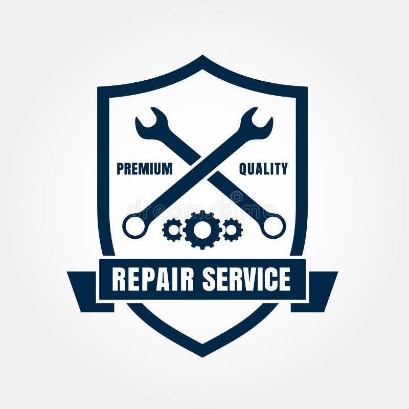Vintage style car repair service shield label. Vector logo design template vector illustration