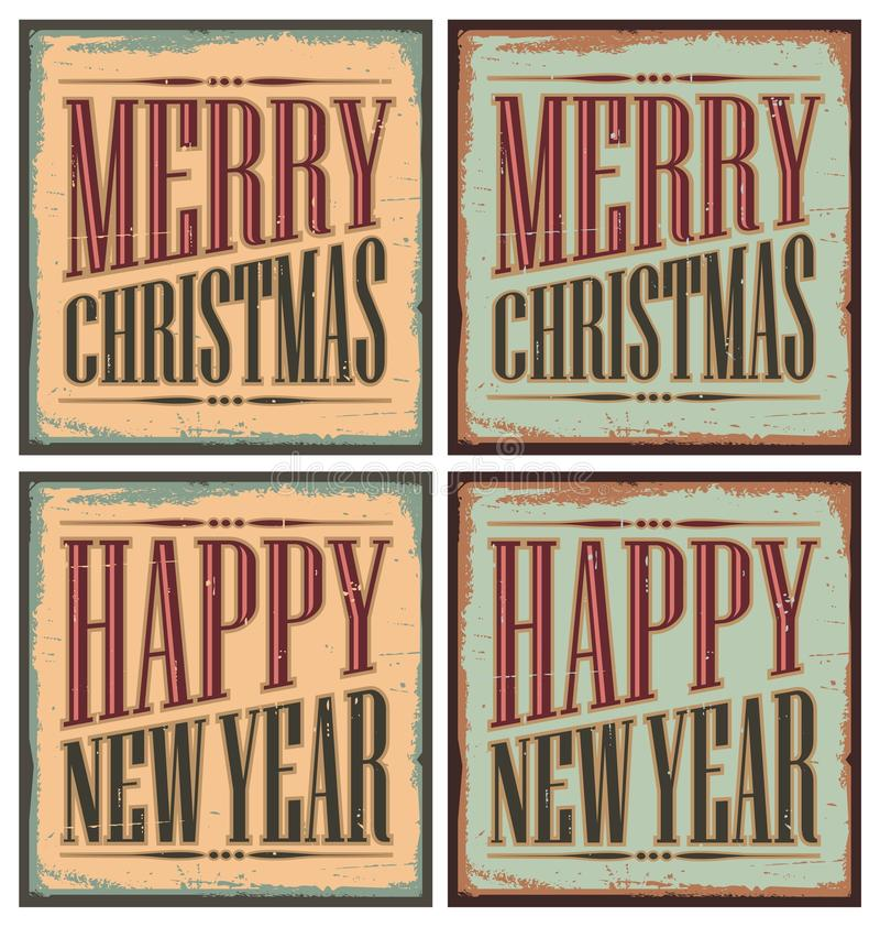 Vintage style Christmas tin signs vector illustration