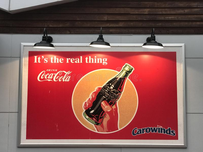 Vintage Style Coca Cola Sign at Carowinds in Charlotte, NC.  stock images