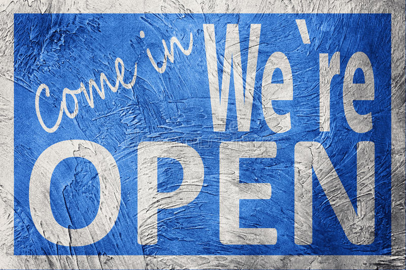 Vintage style Come In We`re Open sign.  stock photos