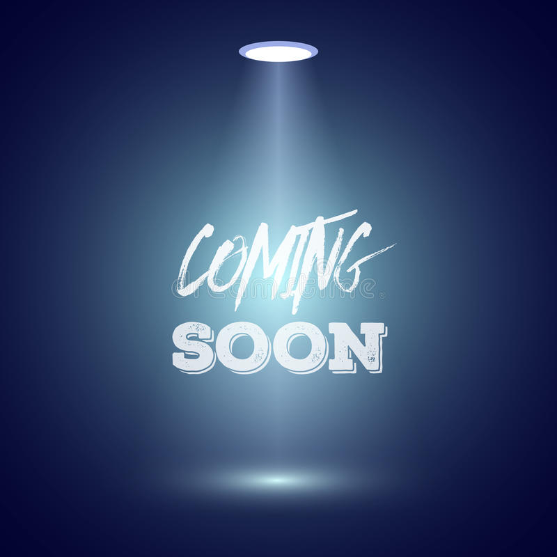 Vintage Style Coming Soon Dark Announscement Poster for websites stock illustration