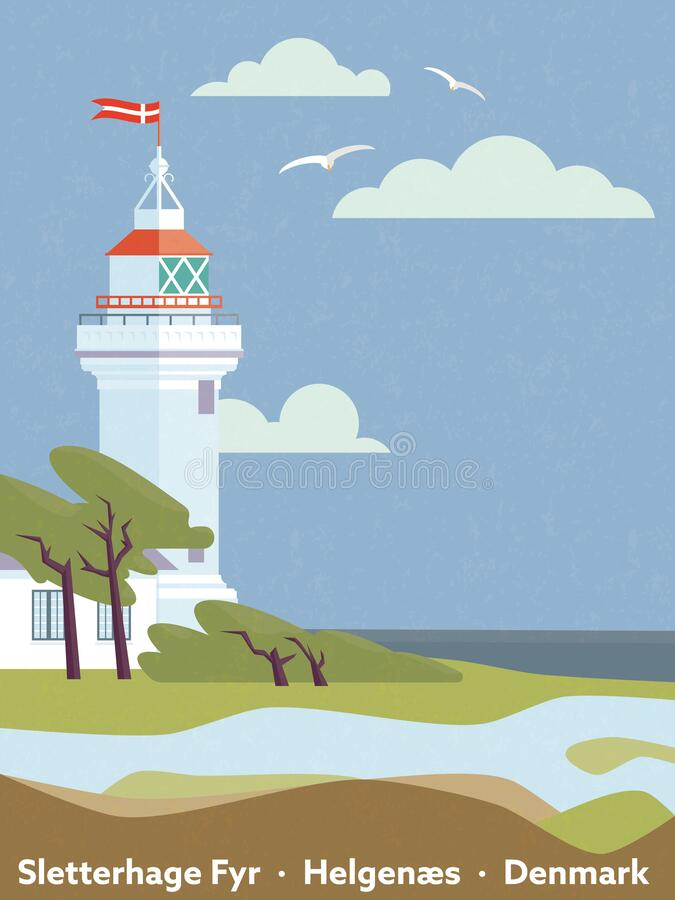 Vintage style Denmark-affisch med fyr vektor illustrationer