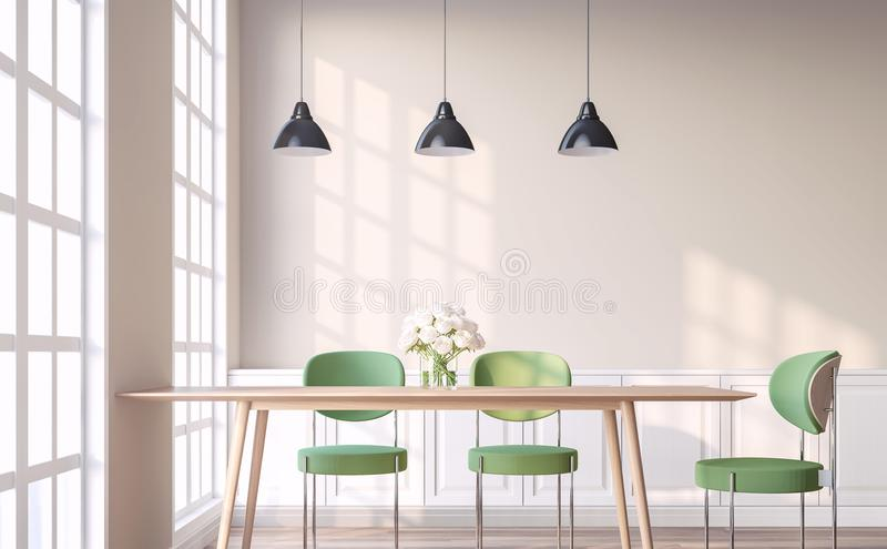 Vintage style dining room with green chair 3d render. The Rooms have wooden floors and light brown walls.Furnished with green chair and wood table. There are stock illustration