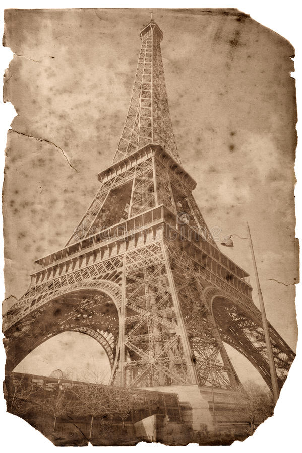 Vintage style Eiffel tower card stock image
