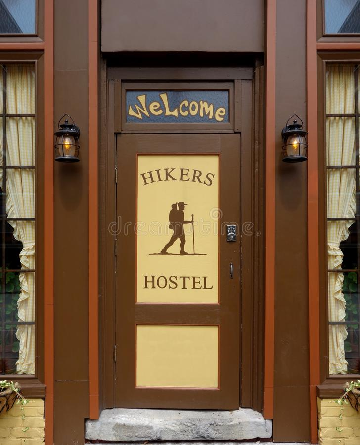Hikers Hostel Welcome Entry royalty free stock photo