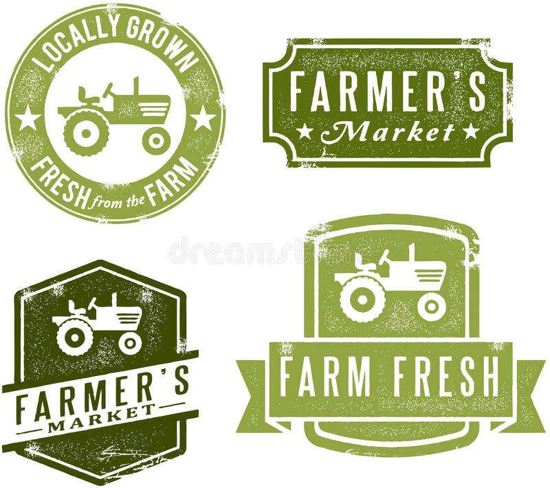 Vintage Style Farmers Market Stamps. A collection of vintage style farmers market and fresh produce stamps stock illustration