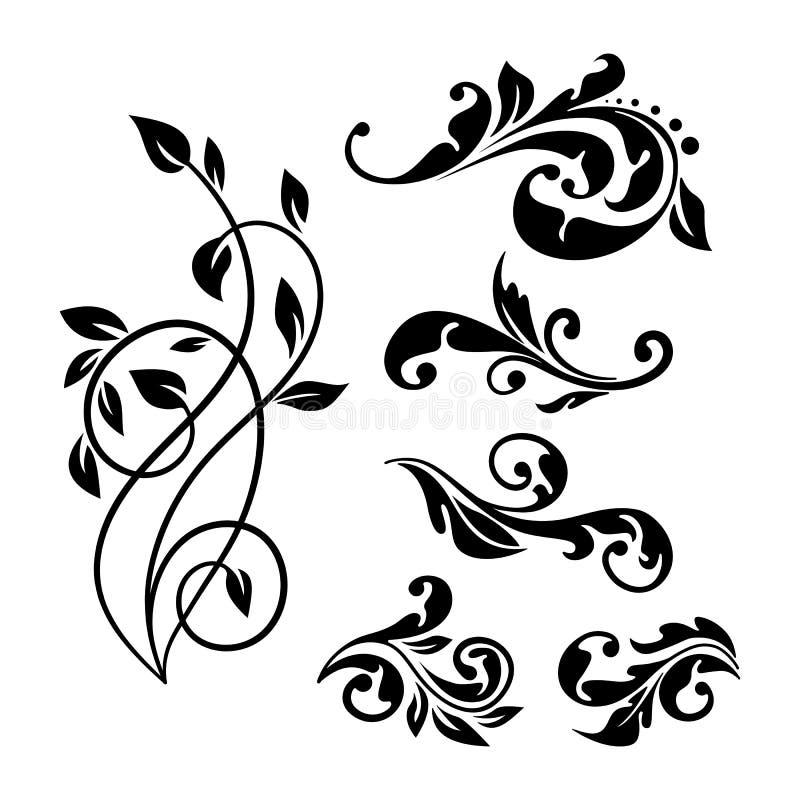 Vintage style floral element set for you design. royalty free illustration