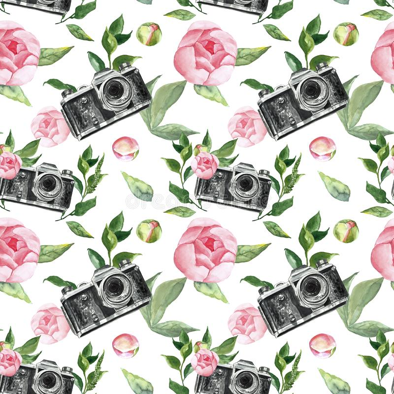 Watercolor floral seamless pattern with pink roses, peony flowers and retro camers on white background. Romantic print royalty free illustration
