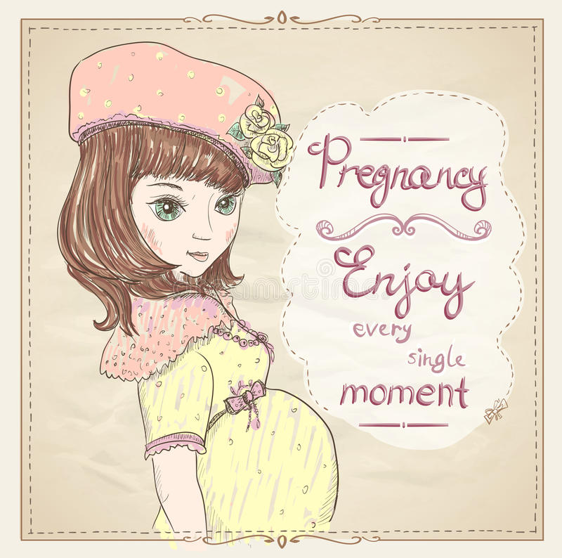 Download Vintage Style Graphic Portrait Of A Pregnant Woman Stock Vector