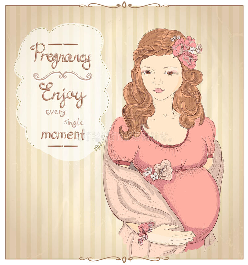Download Vintage Style Graphic Portrait Of A Pregnant Woman Quotes Card Stock Vector
