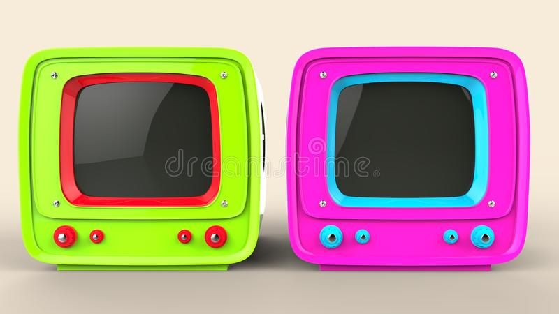 Vintage style green and pink TV sets royalty free illustration