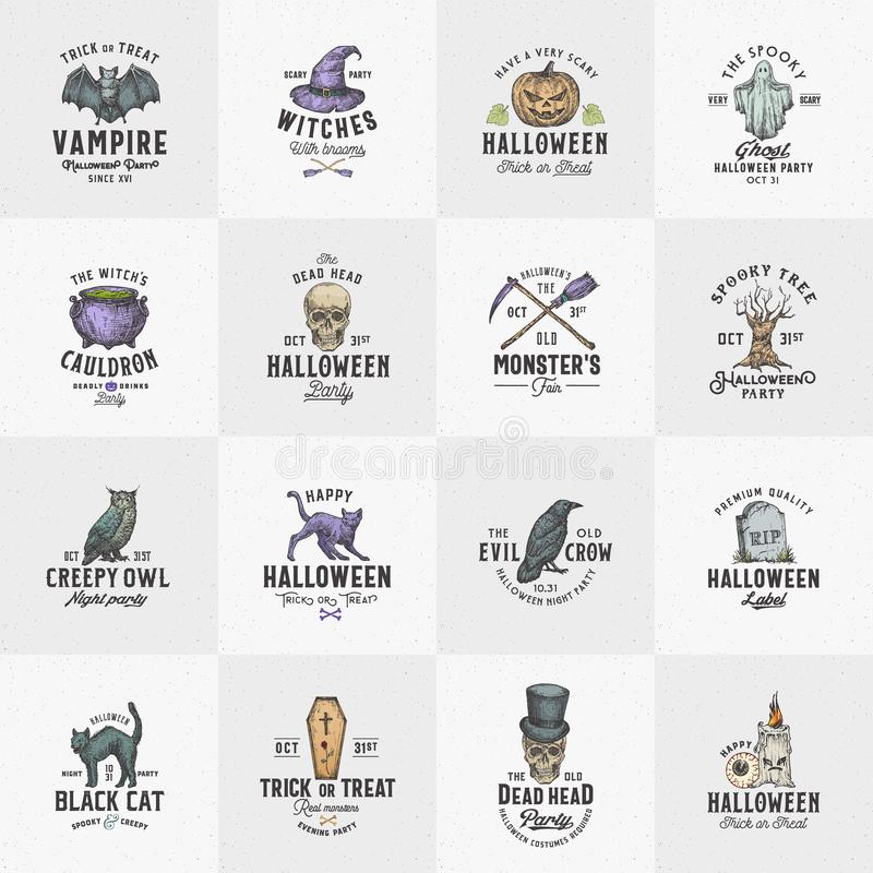 Free Vintage Style Halloween Logos Or Labels Template Big Set. Hand Drawn Raven, Scull, Cat, Bat, Witch Hat And Tombstone Royalty Free Stock Image - 160474036
